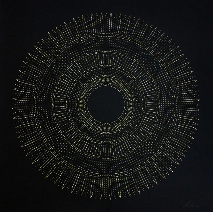 "Circle the Kaaba- Tan   Mixed media on paper (Black and tan beads and embroidery on black paper)  29"" x 29"" 2016  Walking With My Mother's Shadow-Artist Statement"