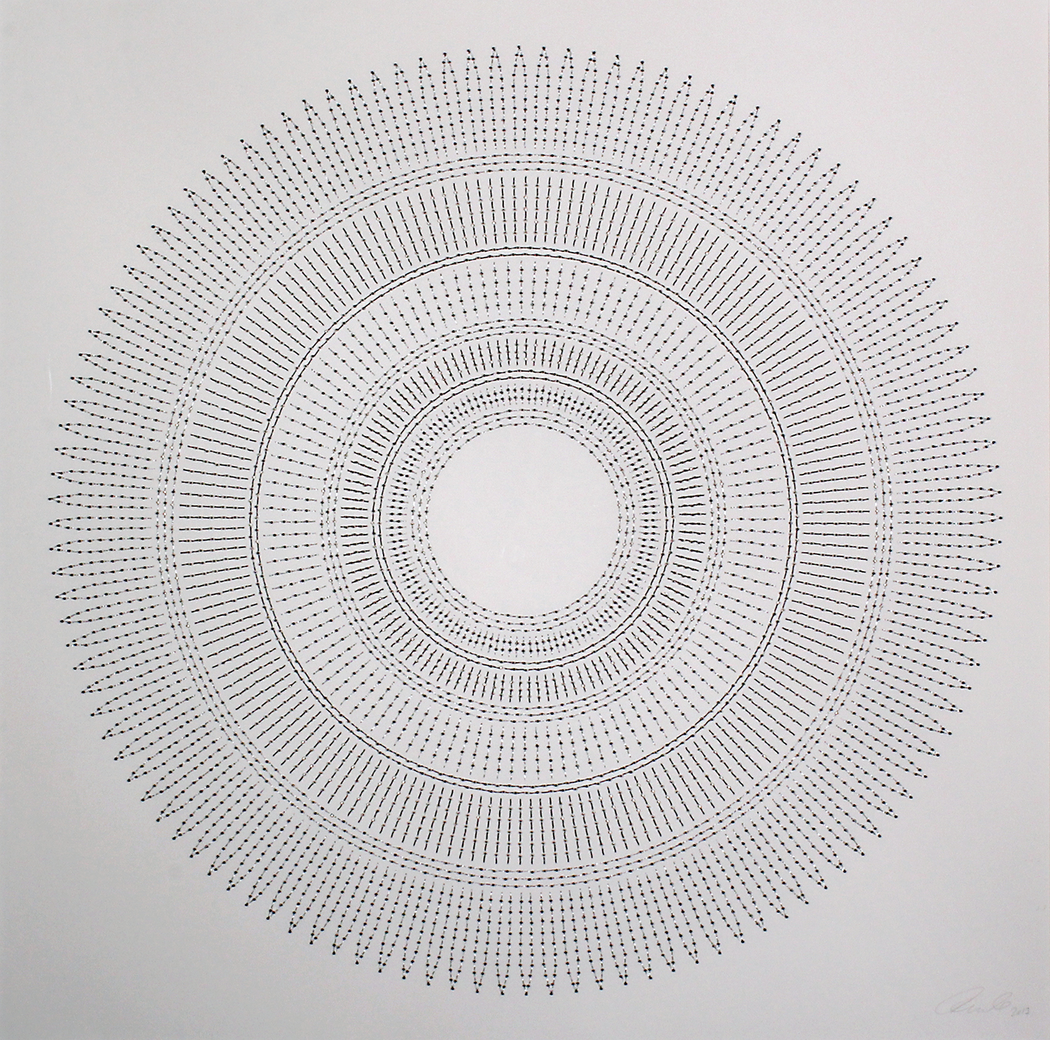 """Circle the Kaaba- Gold   Mixed media on paper (Black and gold beads and embroidery on white paper)  29"""" x 29"""" 2017"""