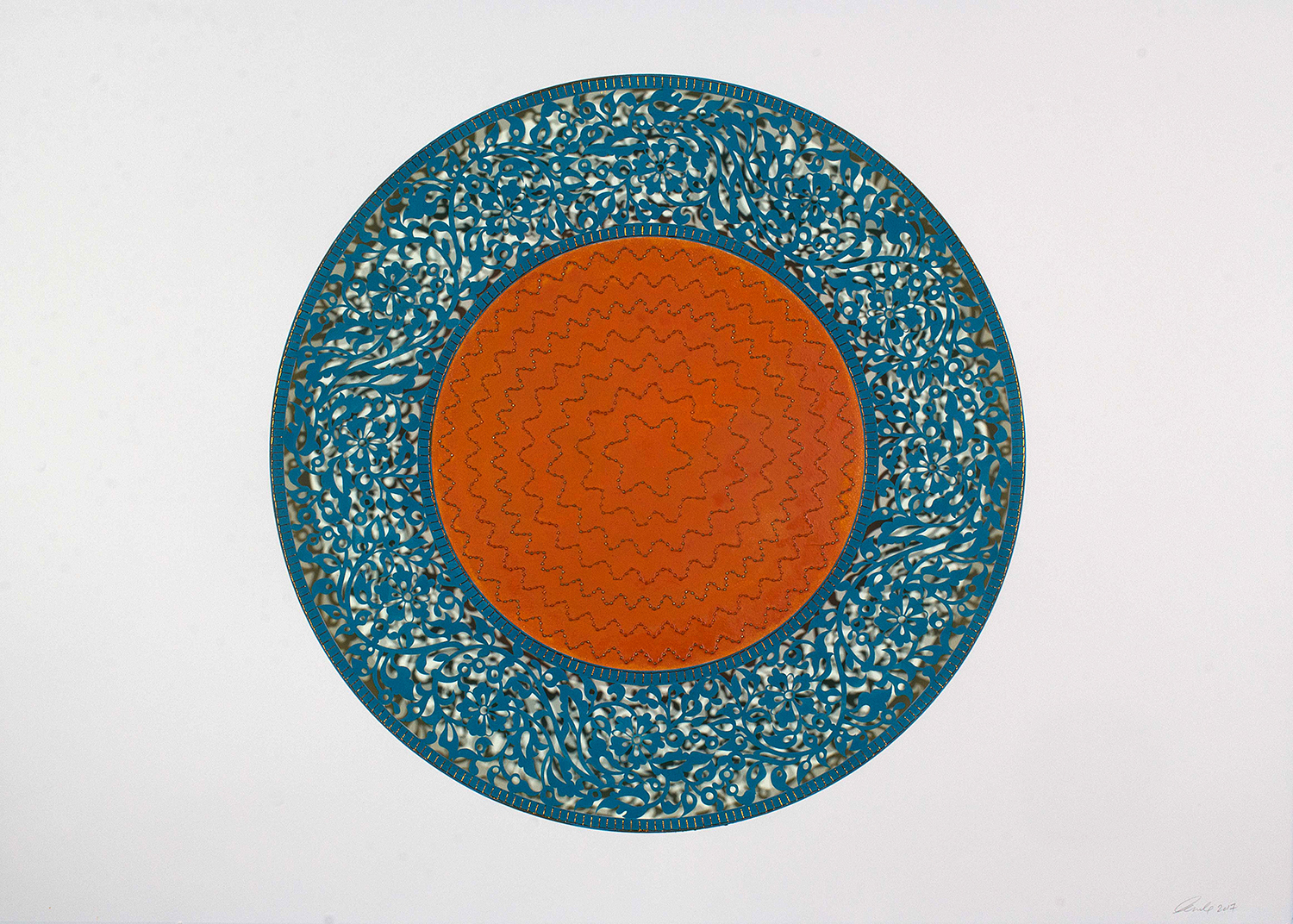 "Flowers (Blue and Orange Circle)   Mixed Media on Paper (Blue and orange beads and embroidery on blue and orange paper)  41.5"" x 29.5"""