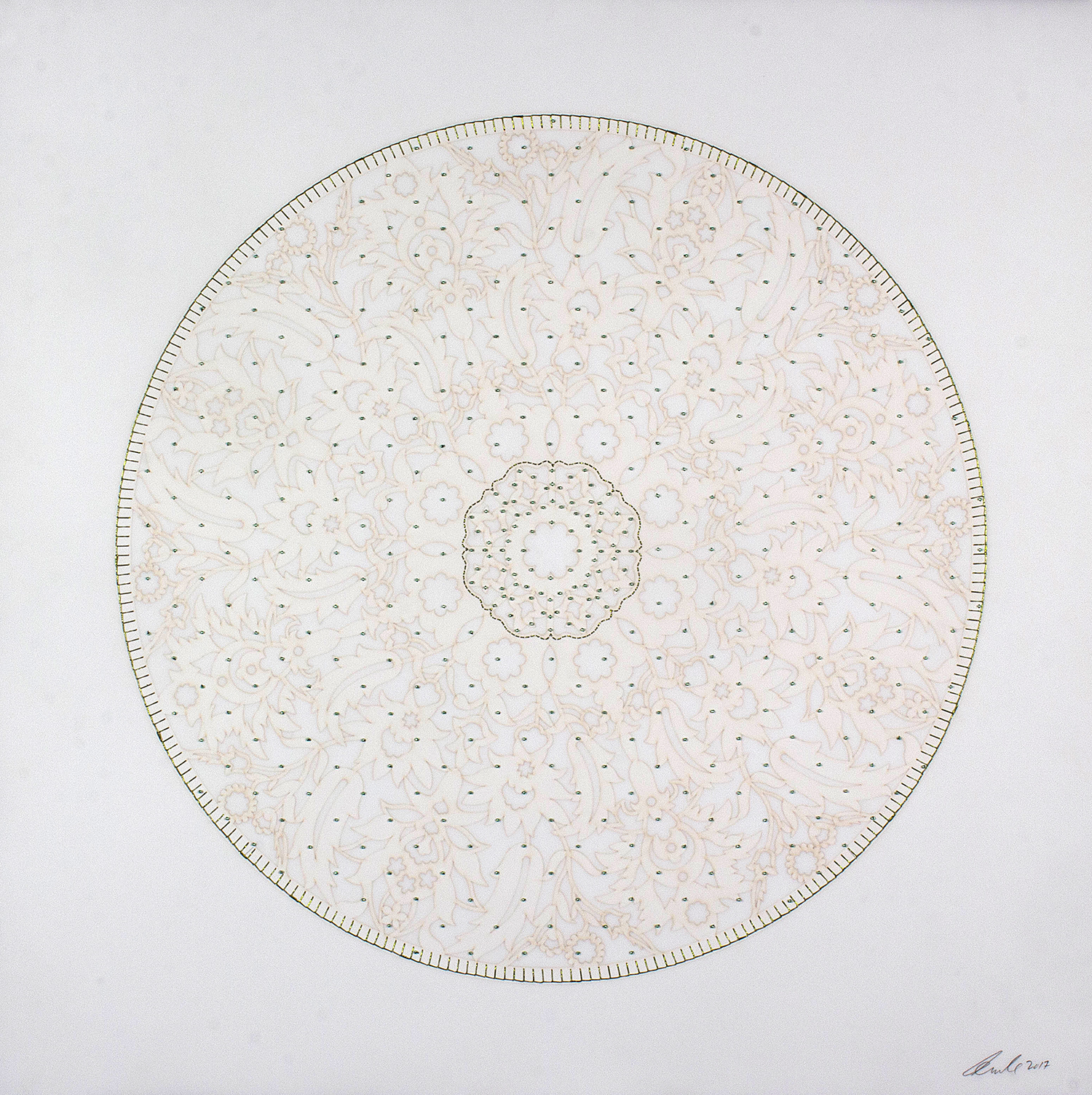 """Green Circle   Laser cut and mylar circle with green stitching and green beads   29.5"""" x 29.5"""""""