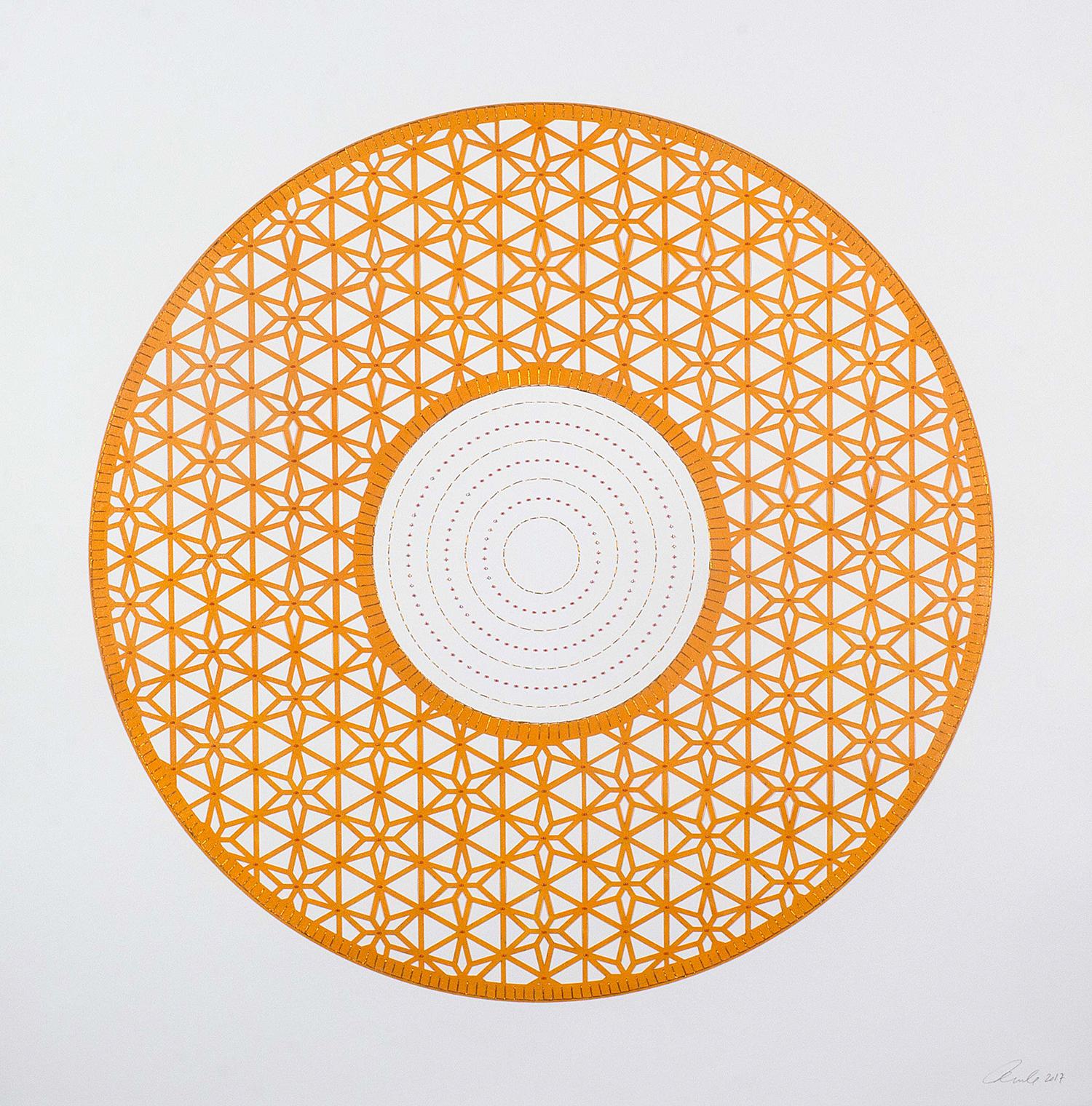 "Flowers (Orange Circle)  Mixed Media on Paper (Encaustic orange circle with pink beads on center) 29.5"" x 30"""