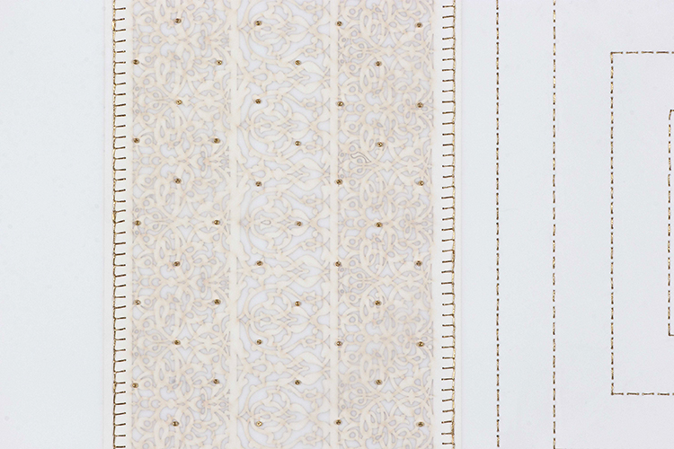 """White and Gold Square (Detail)   Laser cut and mylar, gold and white stitching with gold beads  29.5"""" x 29.5"""""""