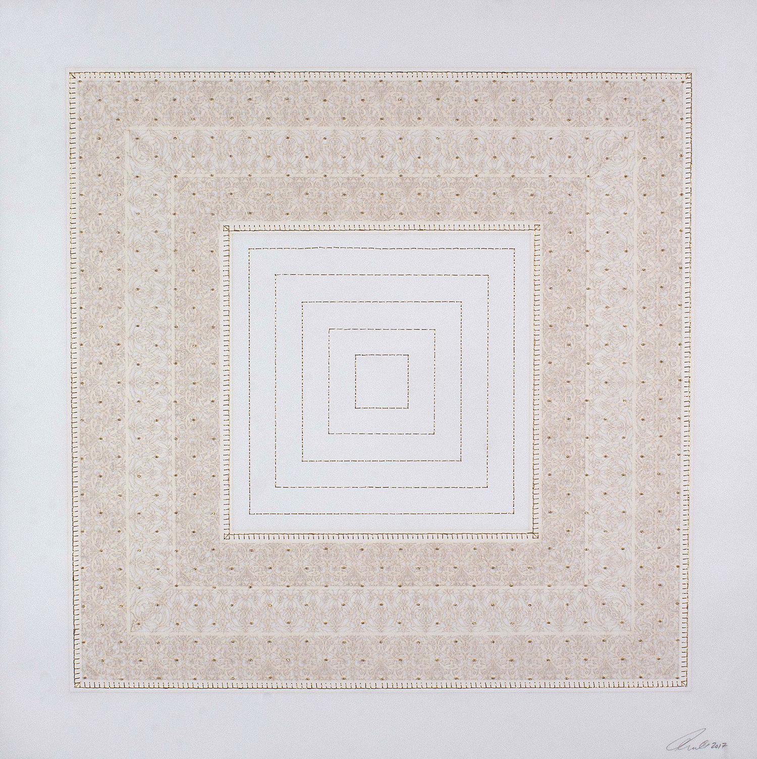 """White and Gold Square   Laser cut and mylar, gold and white stitching with gold beads  29.5"""" x 29.5"""""""