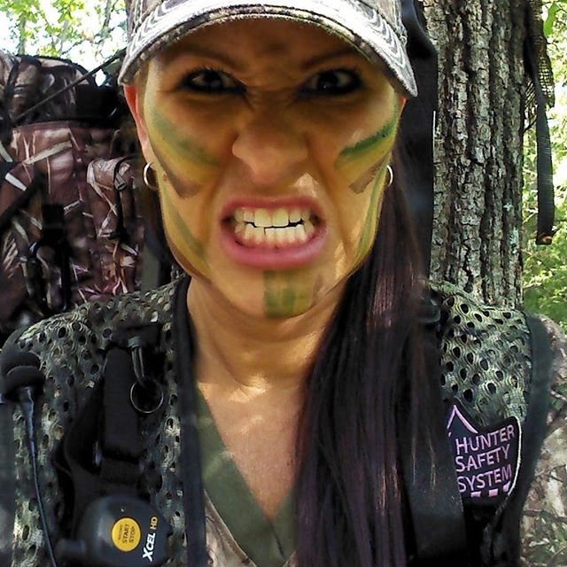 """The way I feel when I'm not in the woods"" pro staff member @anita.h.waller missing hunting season already. #huntersafetysystem #girlscanhunttoo #huntress #finaldraw #sportsmanchannel"