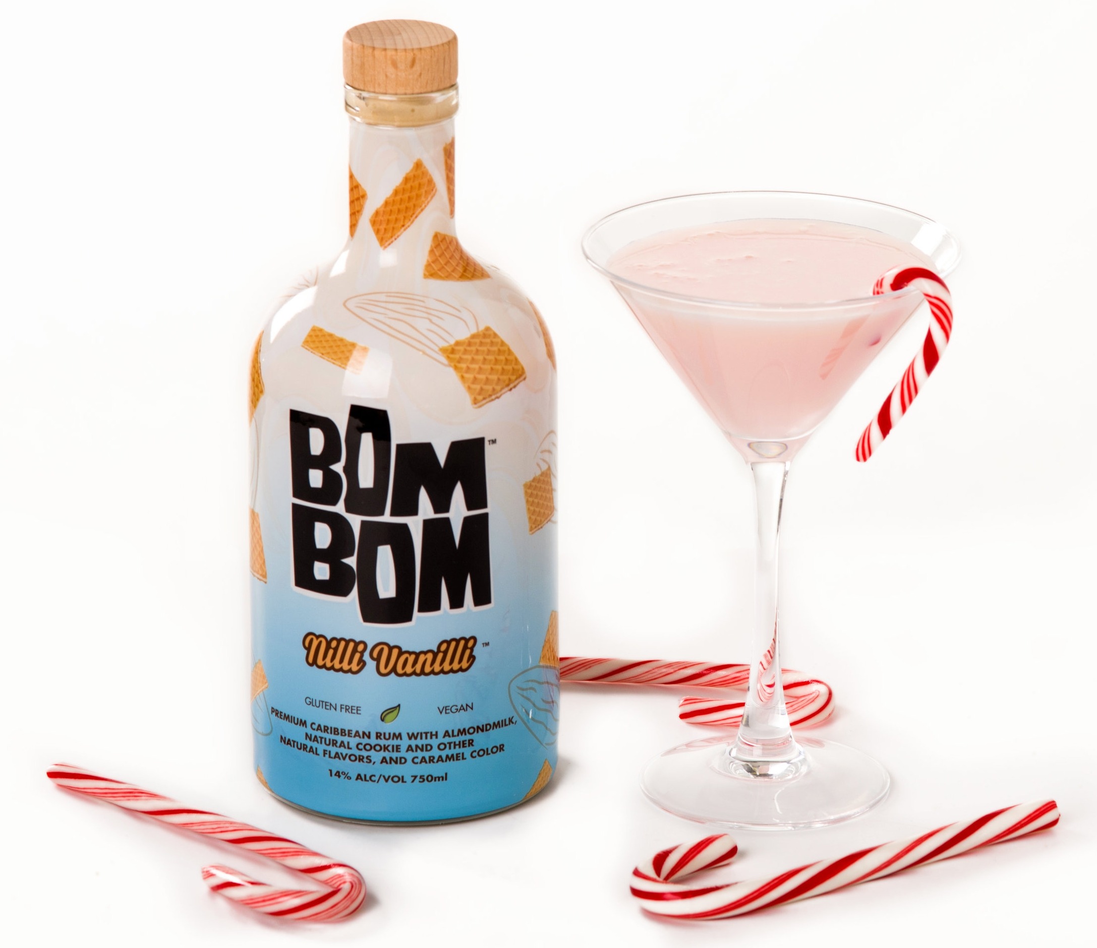 BOM BOM HOLIDAY Peppermint Martini with Nilli Vanilli and Candy Cane and drink Garnish.JPG
