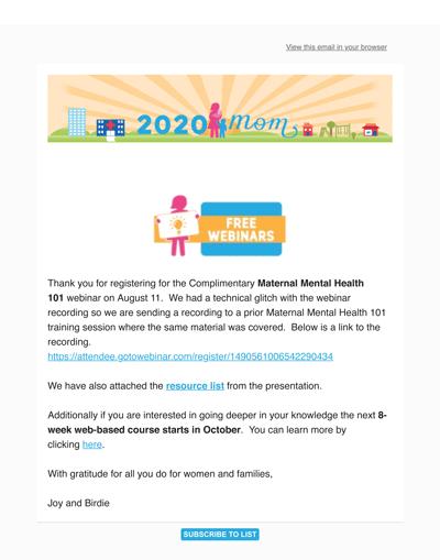 8.30.16 Maternal Mental Health 101 Webinar Recording-Resources