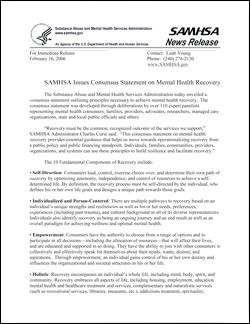 Federal SAMSHA consensus statement on mental health treatment and recovery.