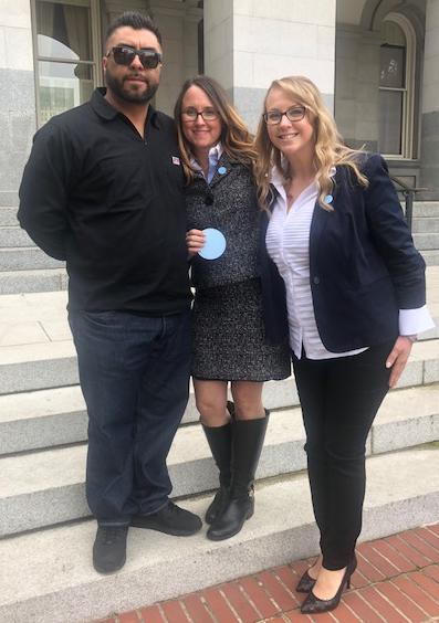 Rudy Coronado, father featured in the California Report podcast, Joy Burkhard Executive Director 2020 Mom and Jessica Porten.