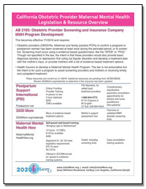 California Obstetric Provider Maternal Mental Health Legislation & Resource Overview
