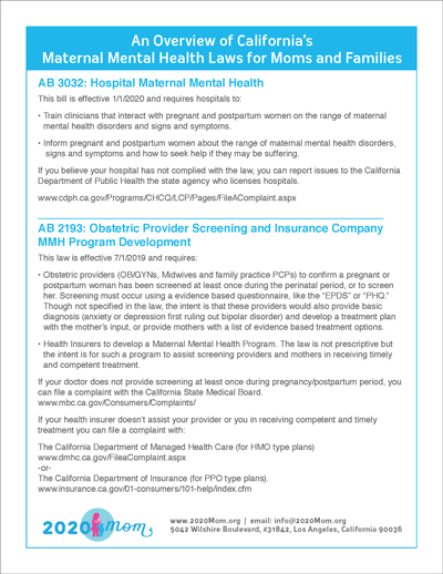 Overview of CA Maternal Mental Health Laws for Moms and Families