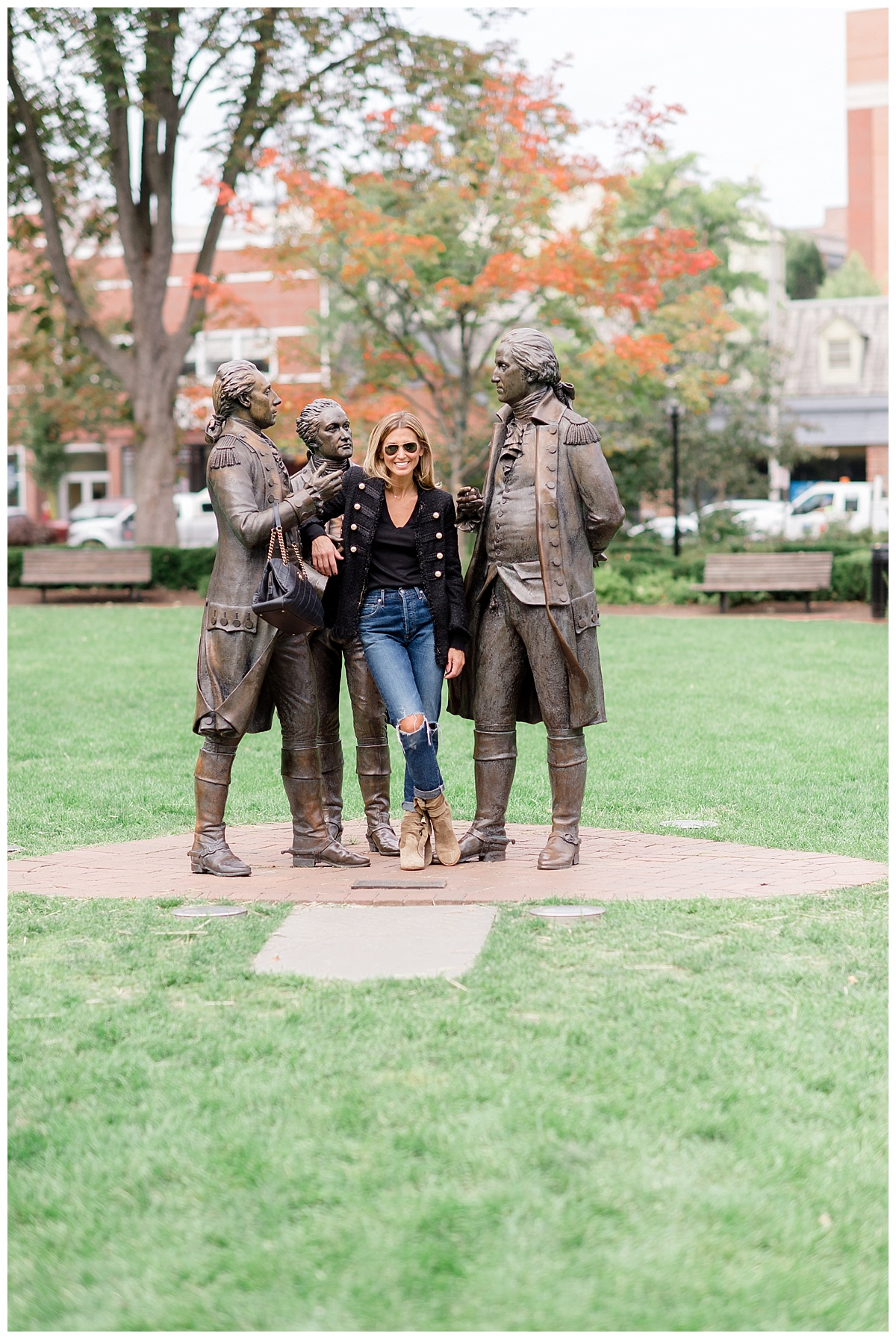 So,  this jacket  from Zara makes me feel like a cross between Michael Jackson and George Washington! The detail is amazing and it is only $150. I thought it was a appropriate to take my pic with these guys - George Washington, Marquis de Lafayette, and Alexander Hamilton on the green in Morristown. They didn't even mind holding my handbag!To keep this look casual, I grabbed a  light weight knit  from Zara to go under the jacket, my favorite  Citizens of Humanity jeans  and the  MUST-HAVE booties  for Fall.
