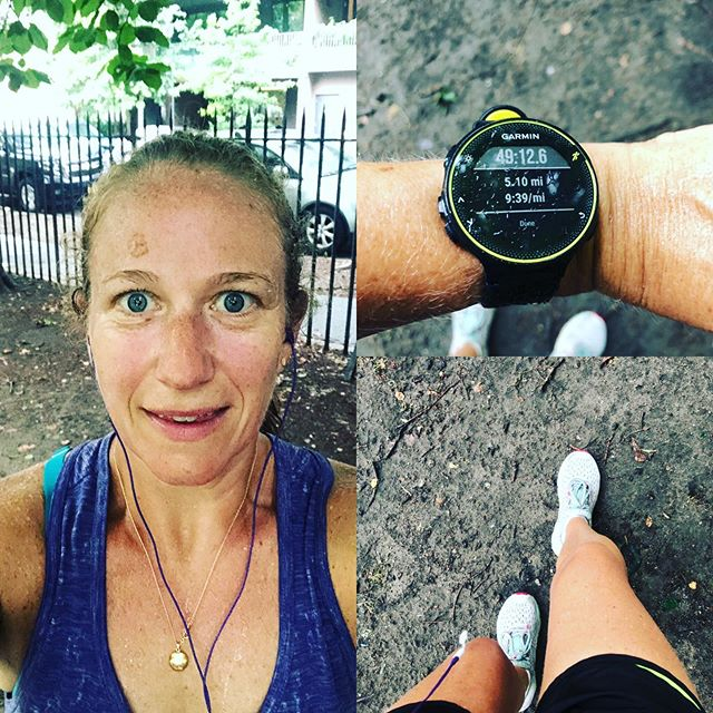 Just remember it's one foot in front of the other, get out there & get it done. 5 humidity filled morning miles finished with a bit of rain which was a welcome relief. Now on to the rest of my day...have a good one! #aktivmom #halfmarathontraining #garminforerunner235 #brooksrunning #getoutside