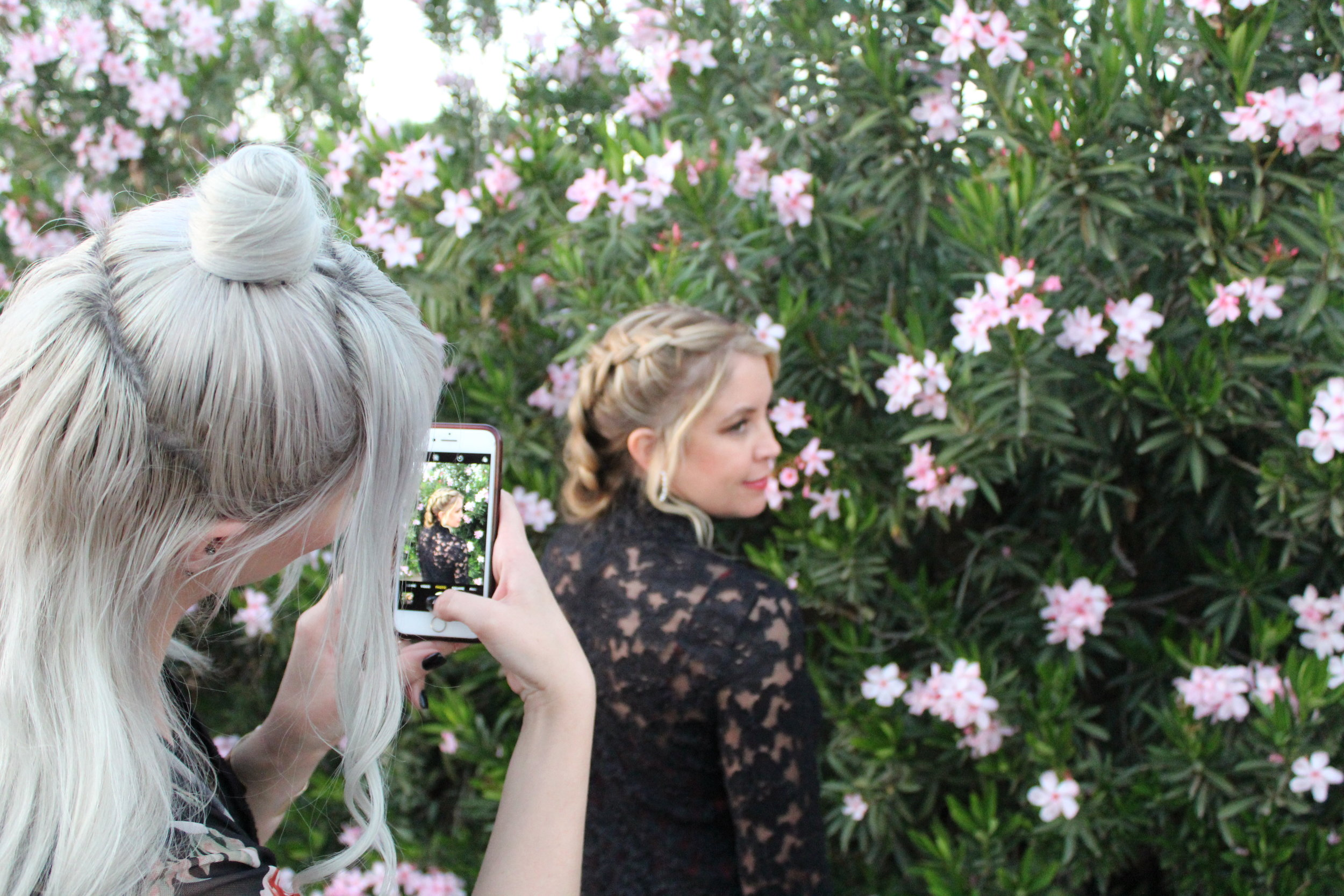 Quora photographing Sarah for the Lady & Wolf Salon Instagram