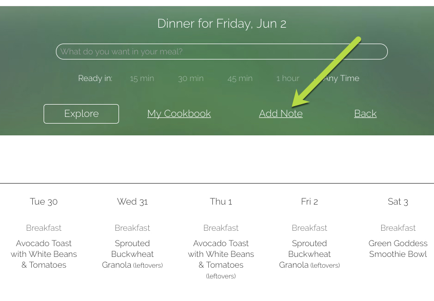 Meal planning in action