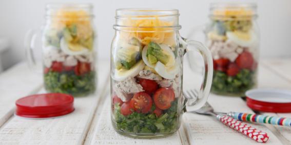 Cobb Salad in a Jar  (umm… amazing use for mason jars!)