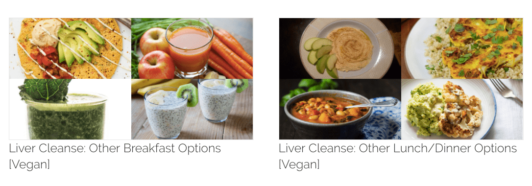 Liver cleanse recipe collection - breakfast, lunch and dinner plans.
