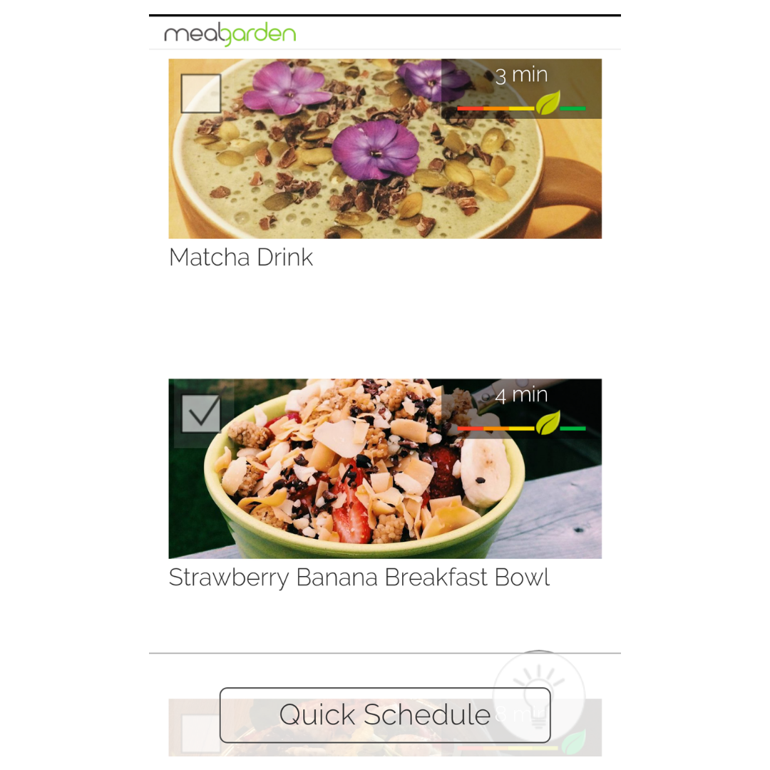 Meal planning app health rating