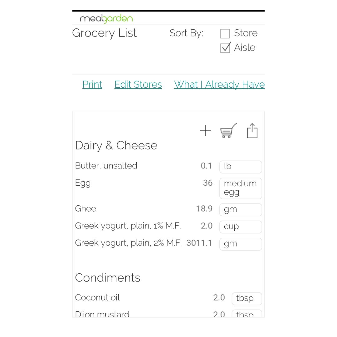 Meal planning app grocery list