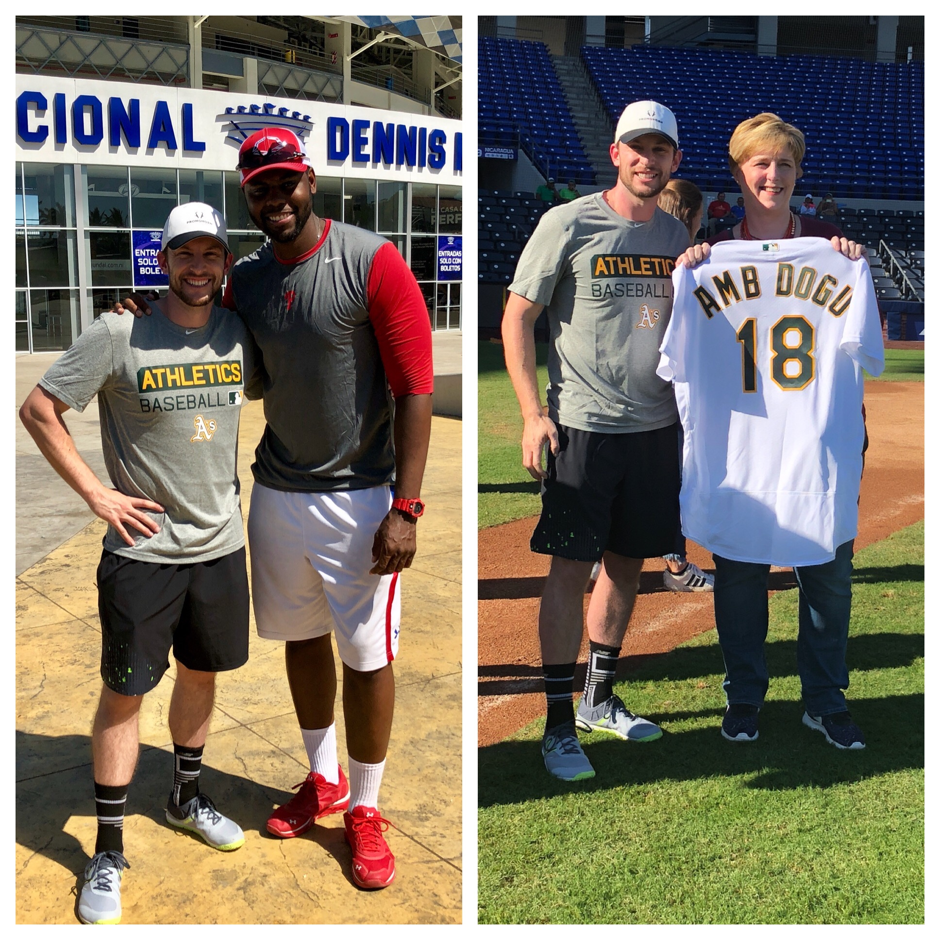 Lowrie and Mayberry Jr. pose in front of the new Estadio Nacional Dennis Martinez in Managua; Lowrie gifts Ambassador Dogu an Oakland A's jersey.Photos by Milessa Lowrie.