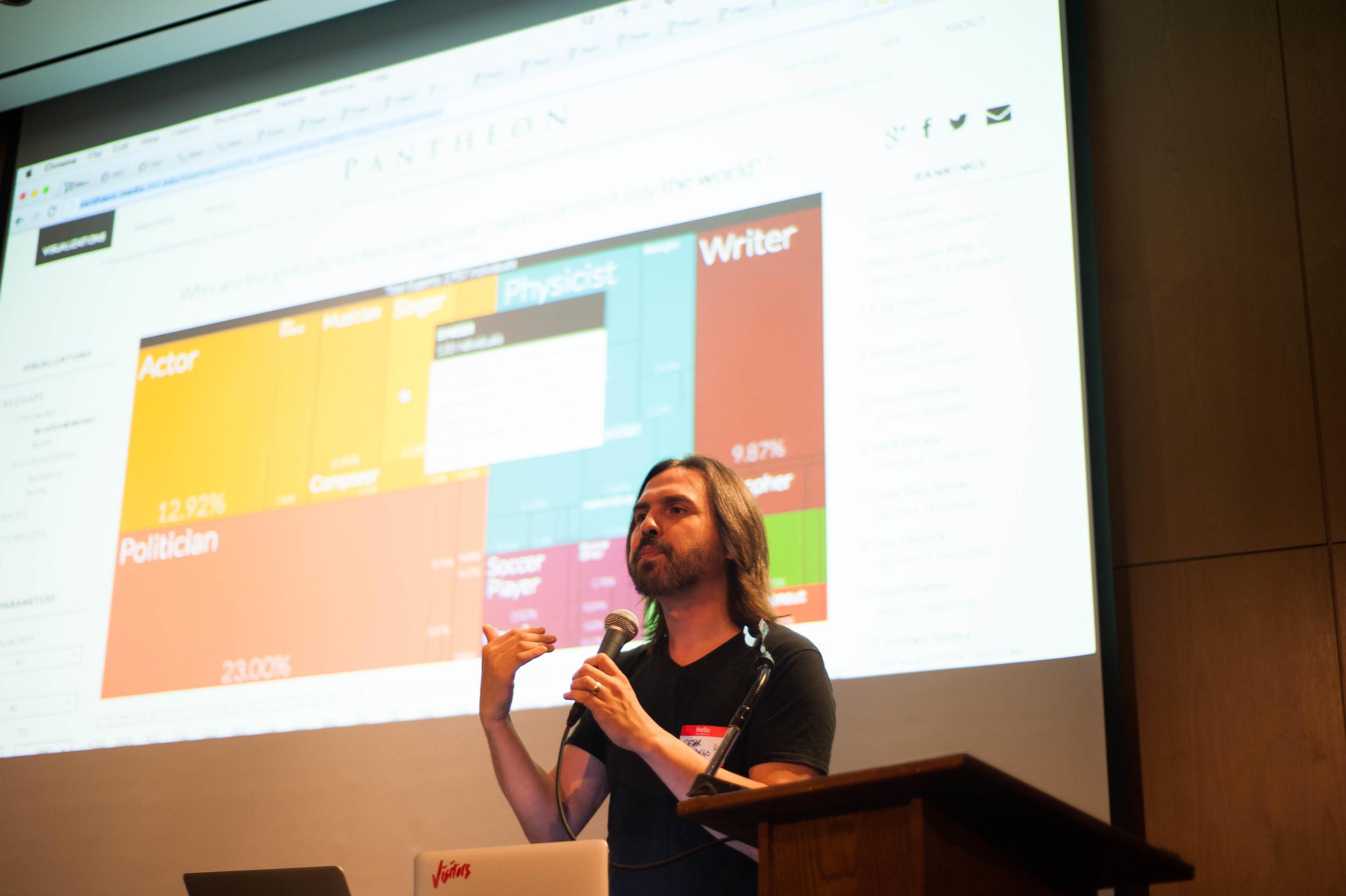 César A. Hidalgo, Assistant Professor at the MIT Media Lab presents an analog.  Photo Credit: Tiffany Knight / IDEO