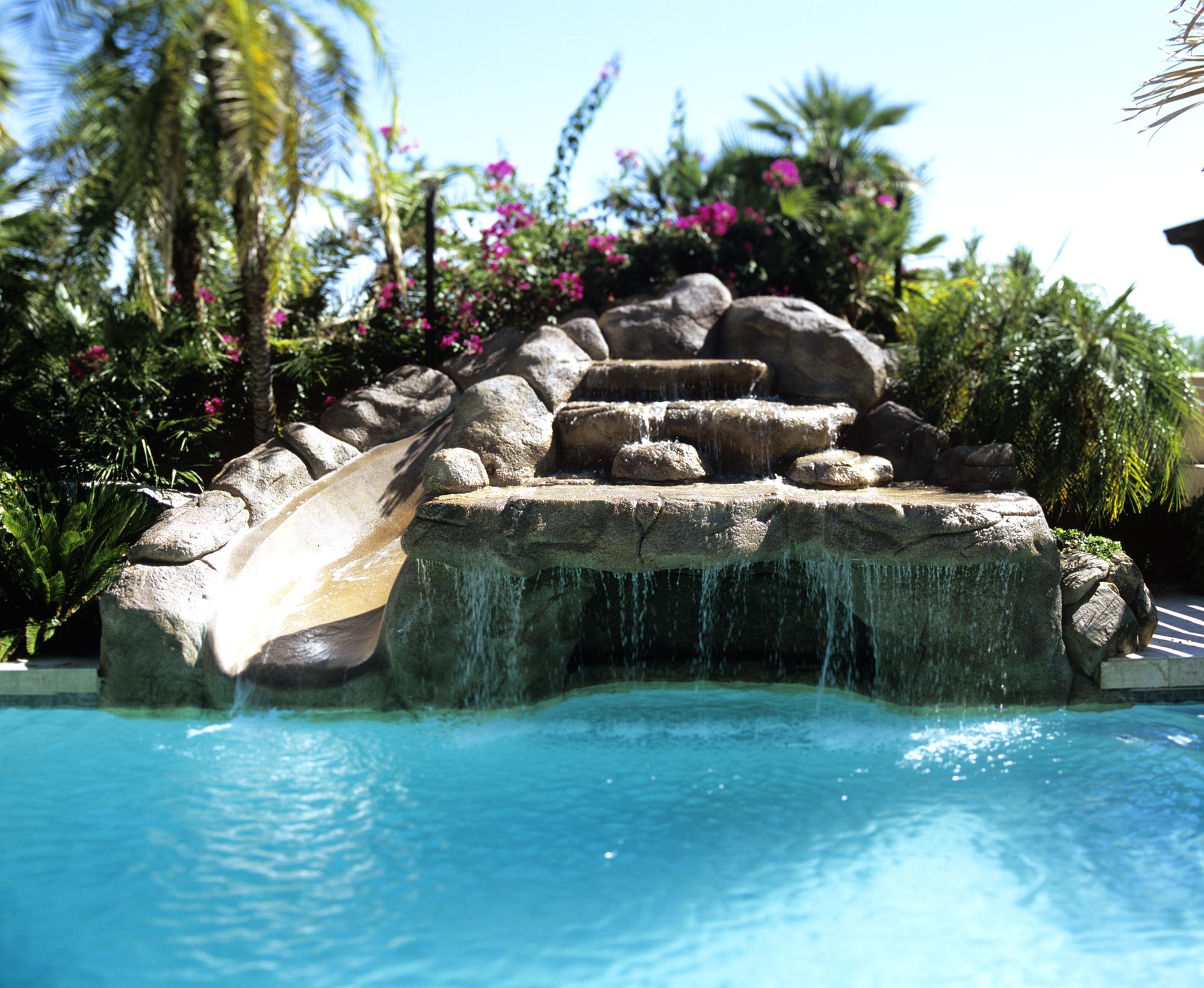 Phoenix-pool-grotto-slide