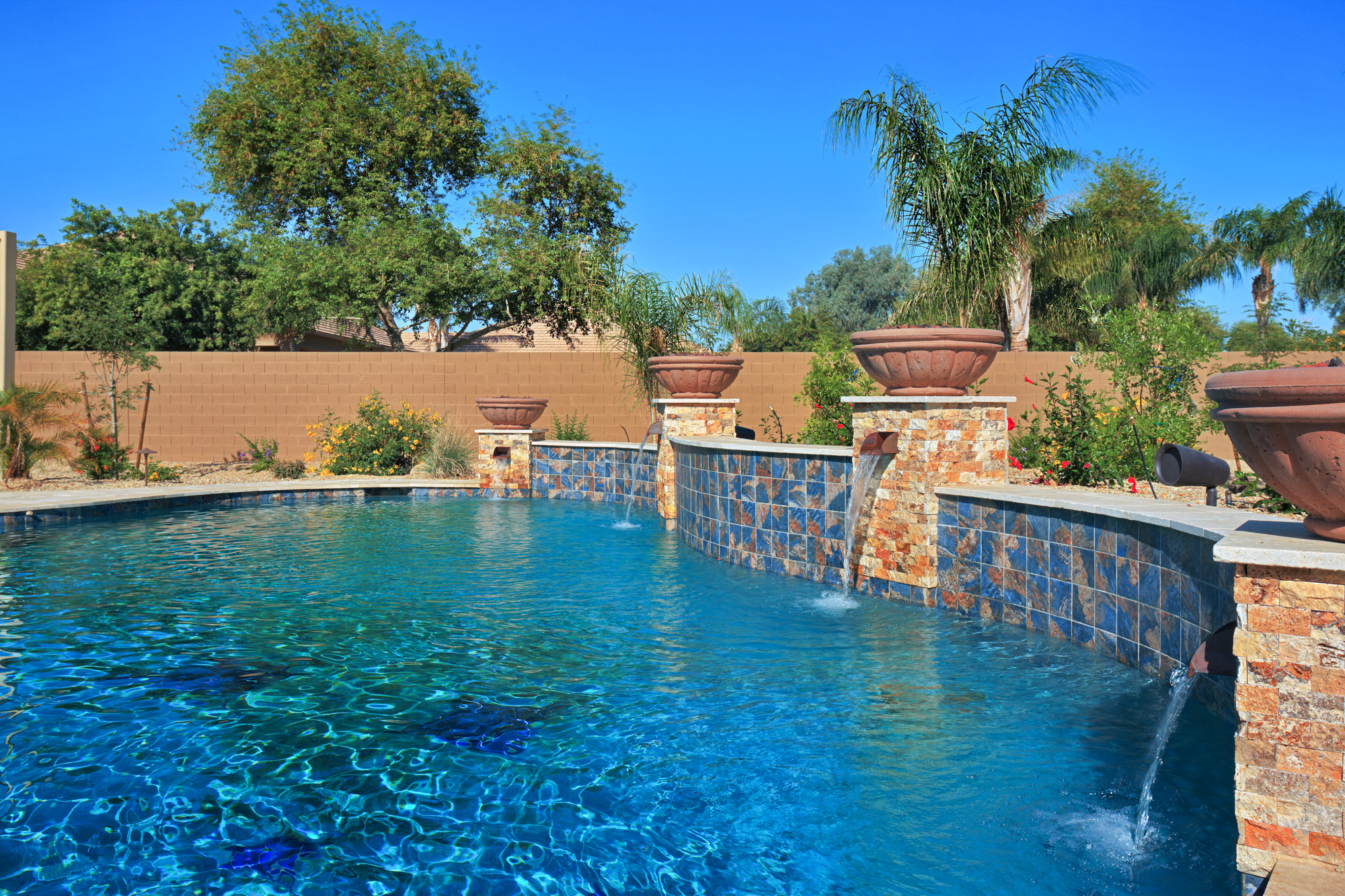 pool design tile sheer descent arizona custom tile