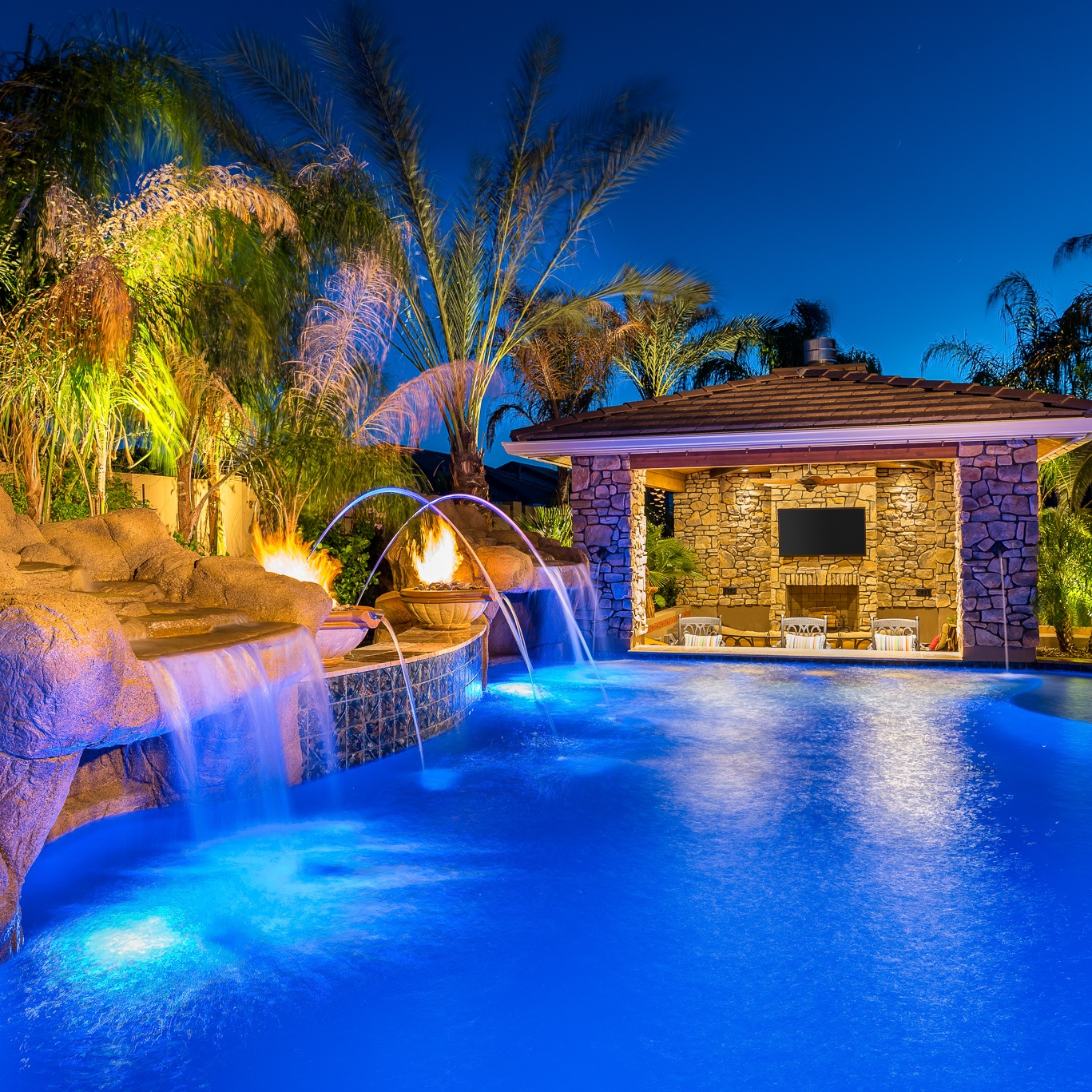 Swimming Pool Waterfall Swim up Bar, Fire Features and Laminars.jpg