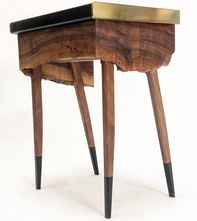 Introducing the Springbok side table.  Light on it's feet, with an alert stance.  Made of a single live edged piece of #clarowalnut  #leathertop #brass and rubber dipped feet.  Contains a perfect bedside drawer.  Each one is unique to the #liveedge material available.  Available as a single unit or in book matched pairs.  Custom sizes and wood/metal/leather combinations. #madeinnewyork #springbok #interiordesign #luxurylifestyle