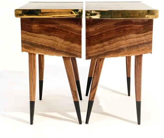 """Book matched pair of the Springbok side table. Although resawn from the same piece of #clarowalnut, the live edge creates an unpredictable, and unique shape to each piece.  No two will ever be alike.  The drawer features a piece of  #wenge on the slide for a contrasting effect.  Solid 1/4"""" brass is hand polished to a mirror finish.  These would look good in you master bedroom.... and you deserve it honey.  #interiordesign #bedsidetable #leather #brass #luxuryhomes"""