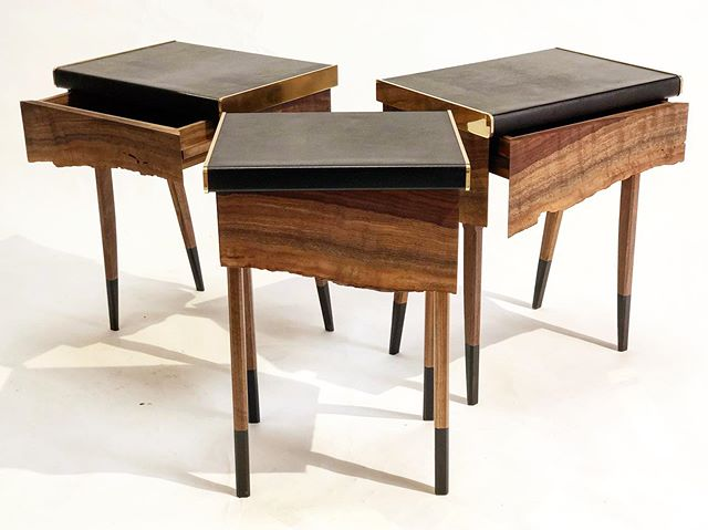 """Small herd of the Springbok Side tables observed in the studio!  These are customizable in size based off the material tolerance.  The baby one in front is 15"""" wide, and the two in the back are more mature, at 18"""" wide. All of them stand at 24"""" high.  Dm us for current wood/metal/leather options.  #custom #madejustforyou #leather #rubber #brass #walnut #interiordesign #freerange #luxuryhomes #architecturaldigest"""