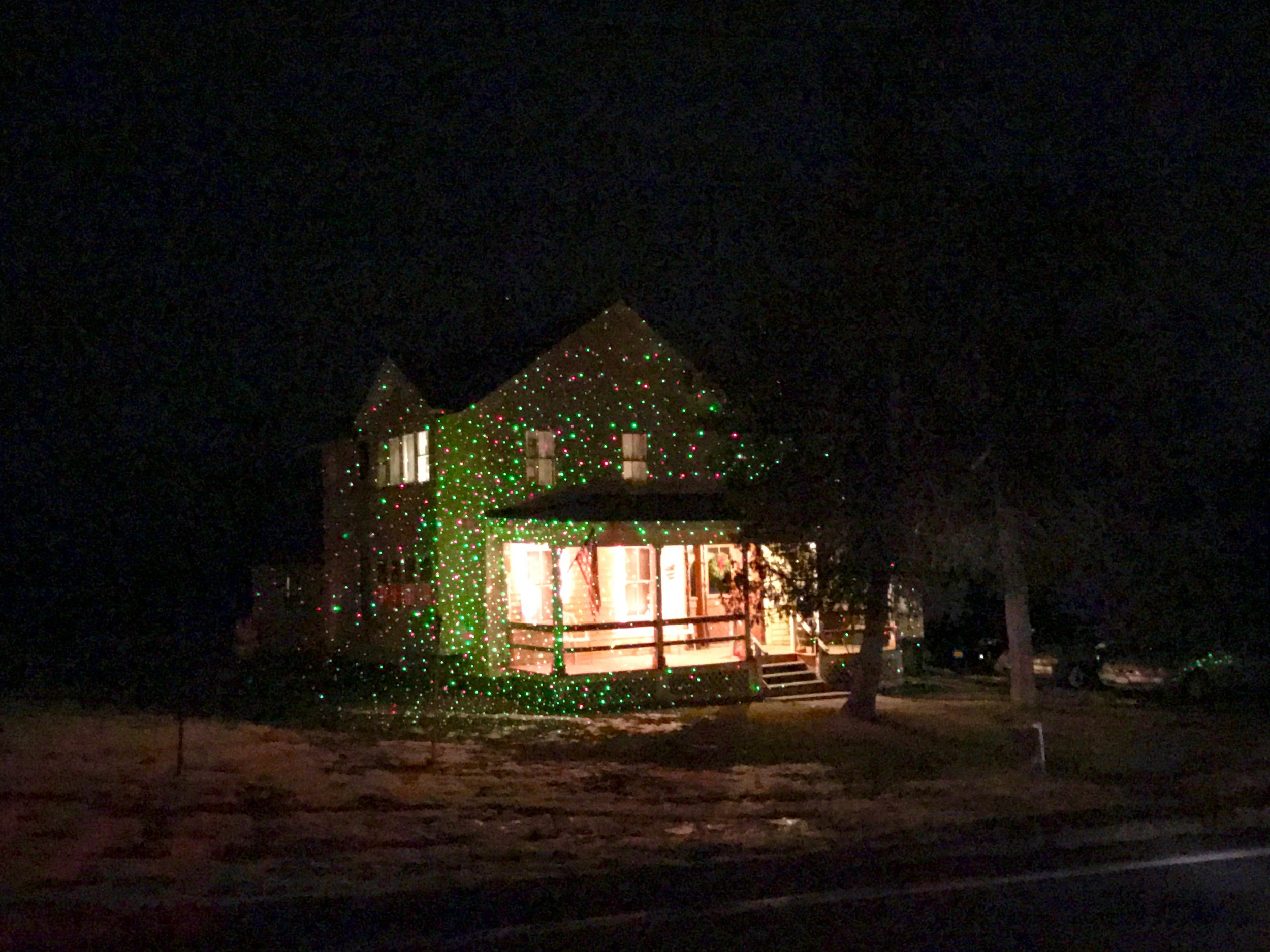 Another house with green and red projections on Route 9G