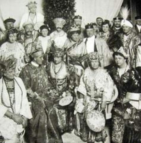 The Chinese Ball, Alva is seated front row, second from right