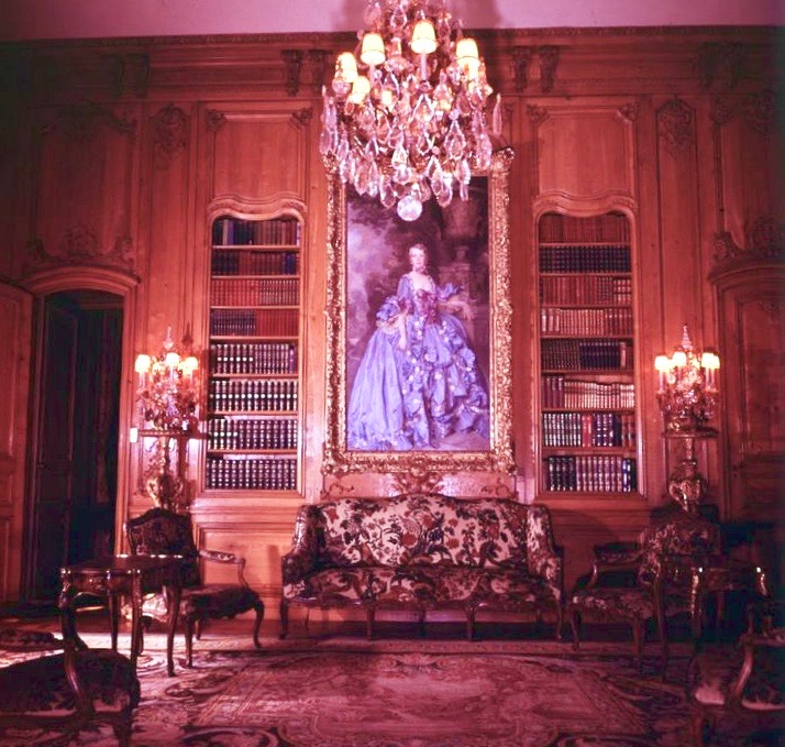 Library presided over by an oil portrait of Anna wearing the costume of the ancien regime