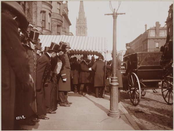 President Grover Cleveland leaving the Church