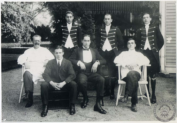 Some Male staff members at Oakland farm: including a Butler, Chef, Valet, and three liveried footman