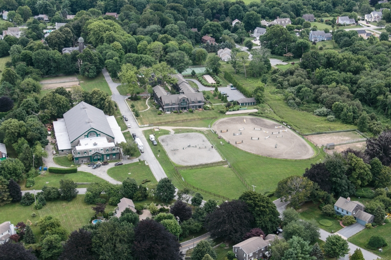 Reginald's Indoor Horse training ring (left) and stables (top center) still stand