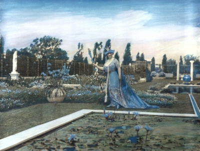 Mrs James as Lady Sapphire in her blue garden
