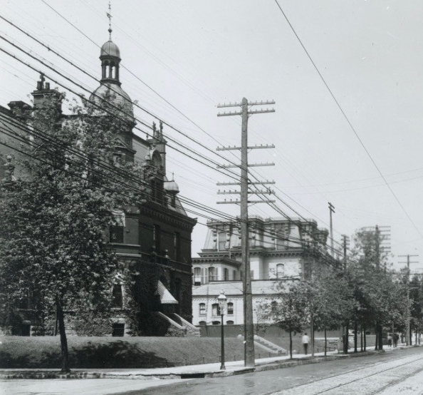 The former Allen residence on Grand Avenue (left)