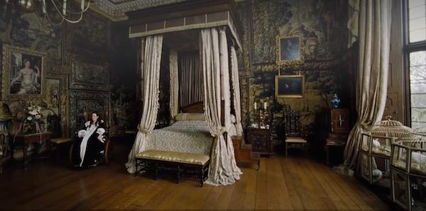 Olivia Colman as Queen Anne in her bedchamber