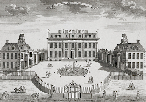 Buckingham House, completed in 1703. It would later be bought by the crown and be enlarged into Buckingham Palace