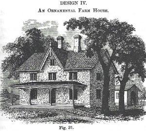 An illustration of an ornamental farmhouse