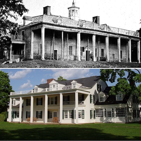 One can see the influence of Mount Vernon (above) in theodate Pope riddle's home in Framingham, Massachusetts (below)