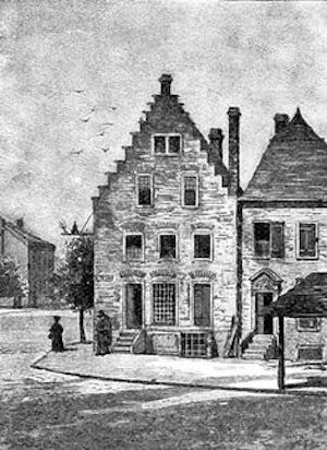 rendering of an early Dutch house in Albany