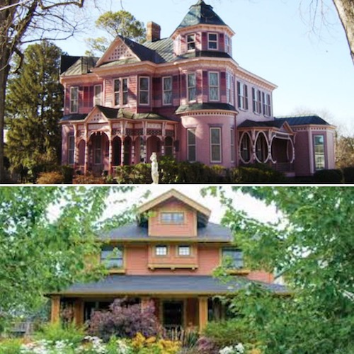 A high style Victorian Queen Anne home (top) versus and Arts and Crafts home (bottom)