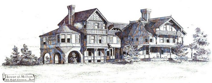 """Emerson's work on Mary Hemenway's home the prior year transformed it from a colonial home into the """"modern"""" mansion seen above"""