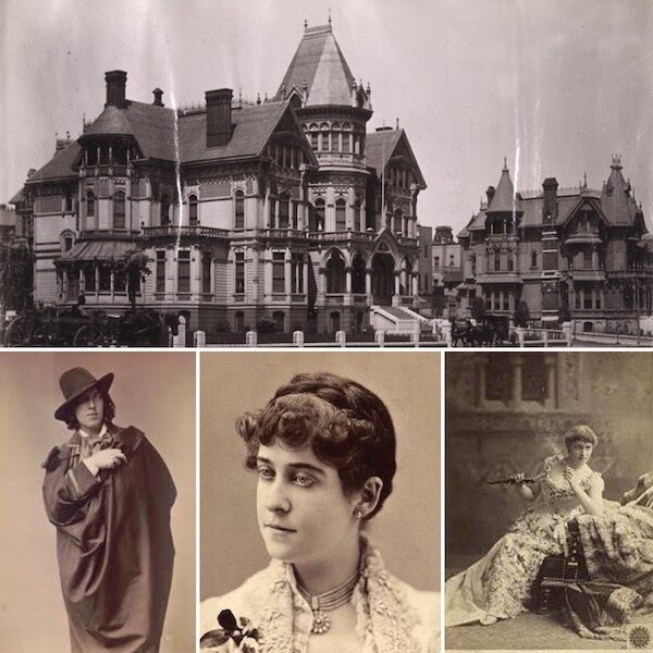 Amy (center) entertained luminaries such as Lily Langtry and Oscar Wilde at her lavish Nob hill Mansion (above left)
