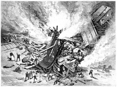 Magazine illustration of the tehachapi train disaster that Amy and her husband survived.