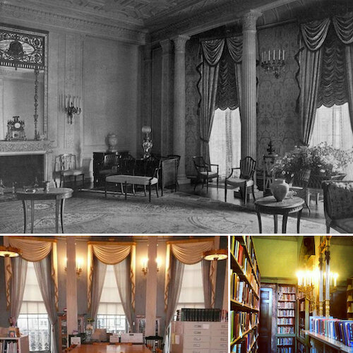 The drawing room before (top), and in its present role as a library
