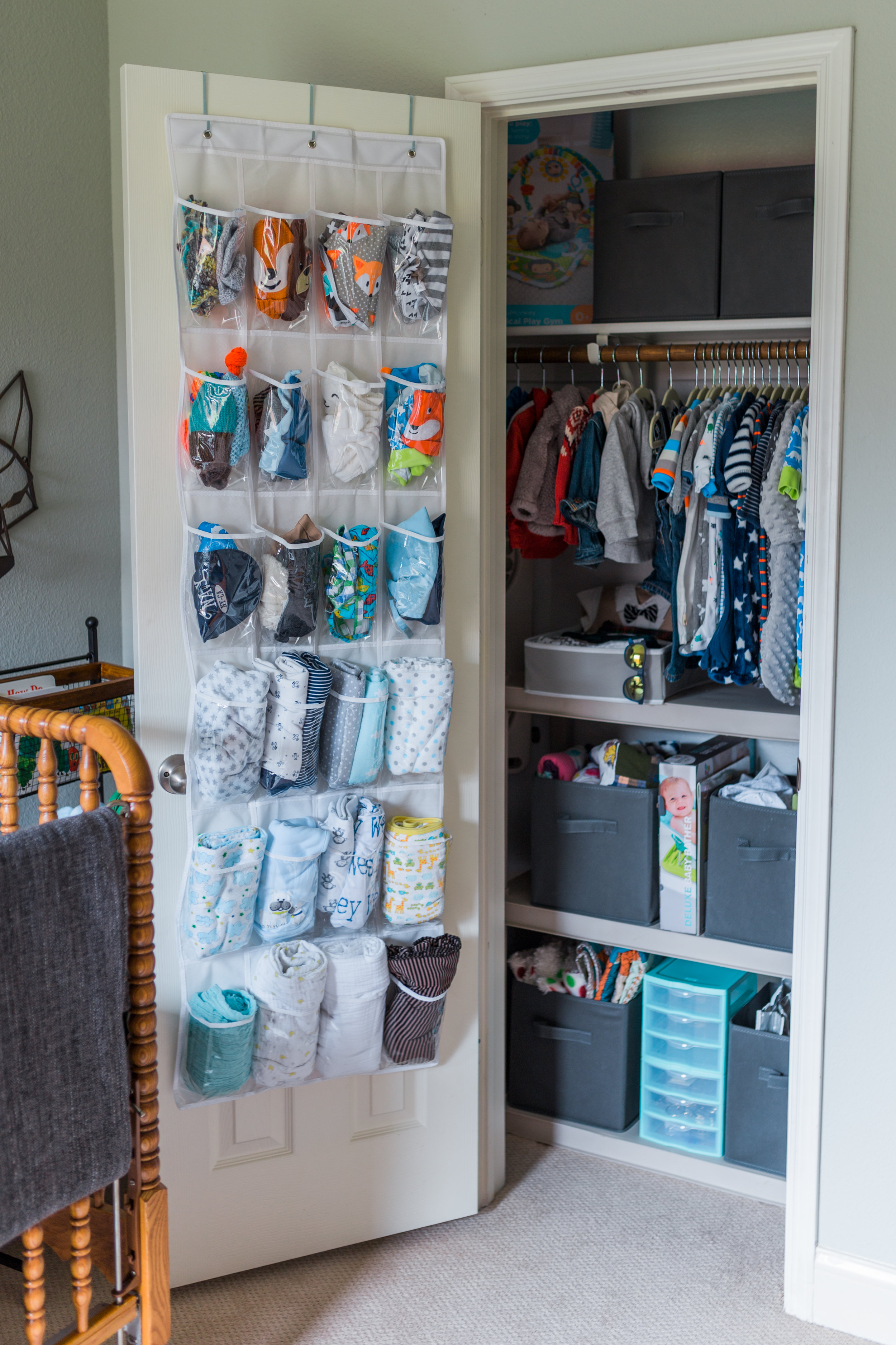 The closets in this house are SMALL, so some creative organization was needed. That's a closet door shoe rack!Thanks Pinterest!