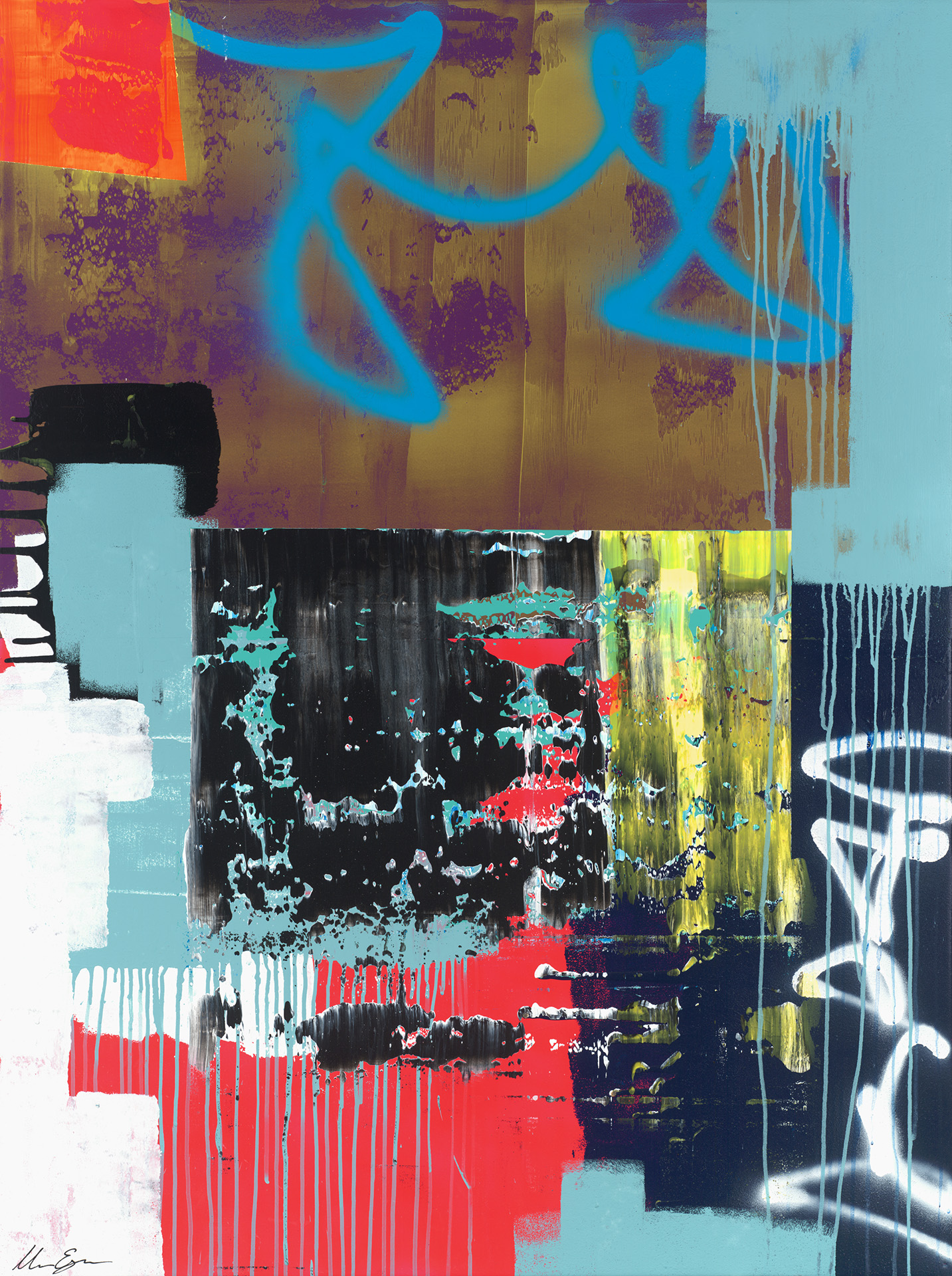Bold and energetic abstract artwork from Dallas based contemporary artist Matt Esparza. Inspired by urban and rural textures and street art.